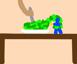 A salad capturing a blue ninja