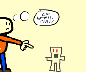 boy thinks is robot is too small
