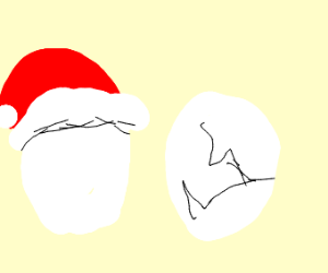 Santa egg and normal cracked other egg