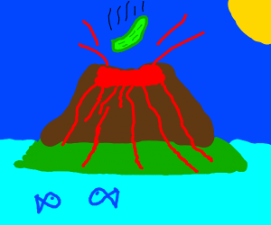 Pickle falling into a volcano
