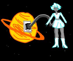 Electronic girl plugged into a plug on Saturn
