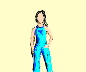 woman wearing blue jumpsuit