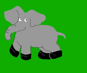 Elefant with black boots on
