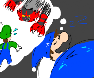 mario dreams abouth luigi fightin incineroar