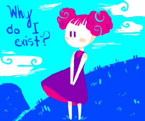 Cotton ball haired lady questions existance