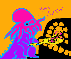 Squid-headed dinosaur makes pizza