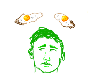 Fried eggs flying over a green guy