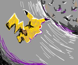 Pikachu flies away onto the moon