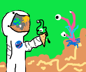 Astronaut gets an alien ice cream cone