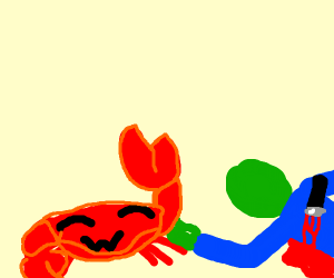 Crab killed saladman and is happy