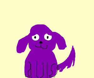 purple pupper with big eyes