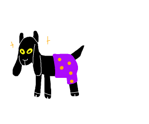 Goat with purple spotty underpants