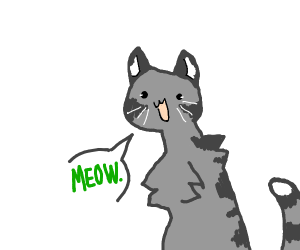a cat saying meow