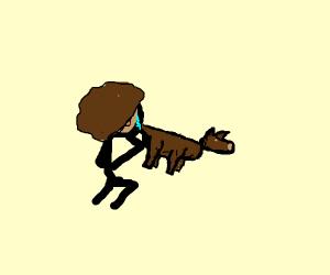 Sad man crying over dog