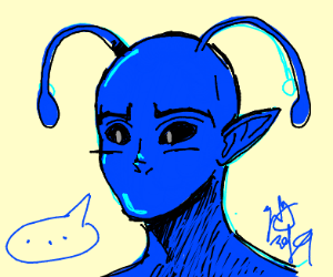 blue alien without a mouth