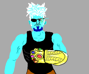 Blue/White Guy W/ Thanos Gauntlet & Sans Eye