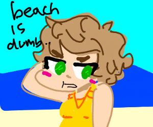 Girl with short hair doesn't like the beach