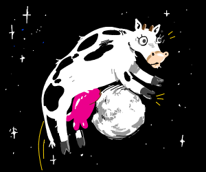 giant cow jumping onto the moon