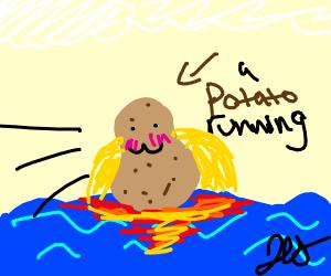 a potato running across aQUa