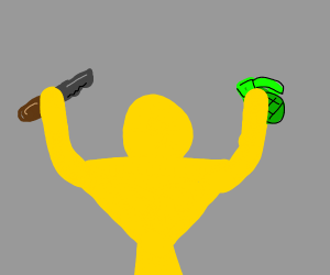 Yellow man with knife and grenade