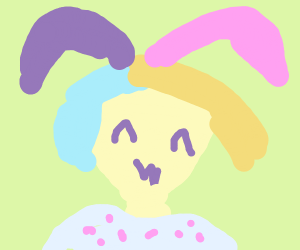 Kawaii girl with multi-colored hair in PJs