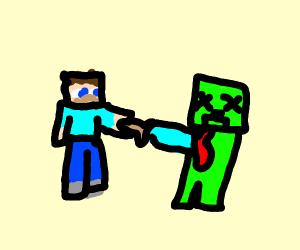 Minecraft Steve kills creeper