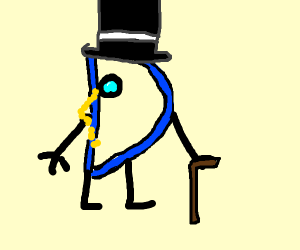 Drawception D with a top hat and a monocle