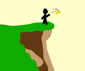 Guy throwing duckling off cliff