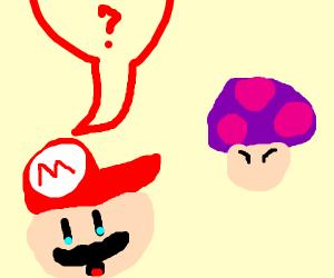 Mario contemplates eating a poison mushroom