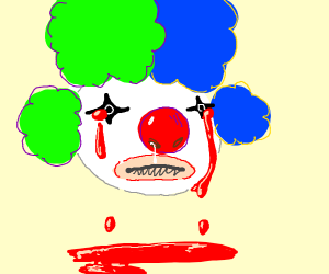 Clown crying blood