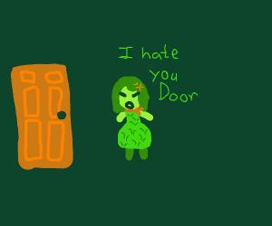 Disgust (Pixar) is mad at a door