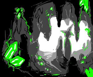 dark cave with enchanted crystals