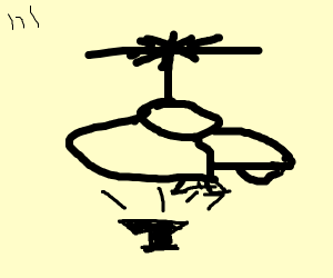 Helicopter dropping an anvil