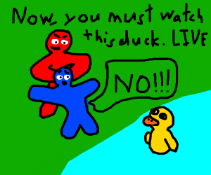 Man in red forces man in blue today live duck