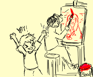 Enthusiastic kid interrupts blood painting