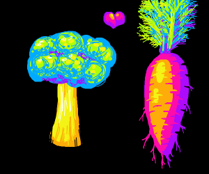 A broccoli in love with a carrot.