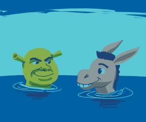Shrek and donkey swimming