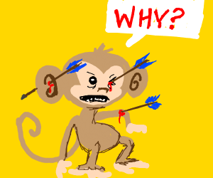 Monkey with arrows to face, ear, & arm