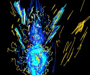 Man made of lightning bolts
