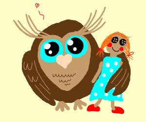 cute owl holding a doll