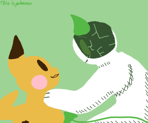Trainer holding a pikachu