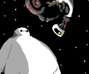 Big Hero 6 and GladDOS floating in space