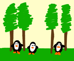 peguins in the forest