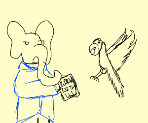 Elephant hires salesman parrot