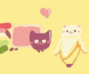 Nyan Cat befriends happy banana