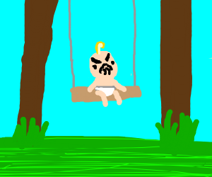 Baby is VERY MAD on swing