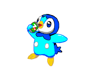 Blue Penguin Pokemon drinks 7up