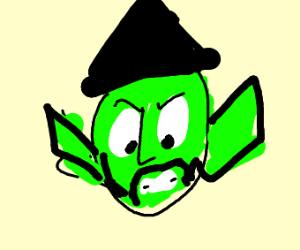 A green witch with a little goatee