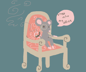 Sophisticated mouse sat on a fancy red chair