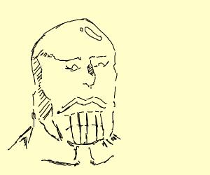 Thanos' head and the gauntlet. Dark.